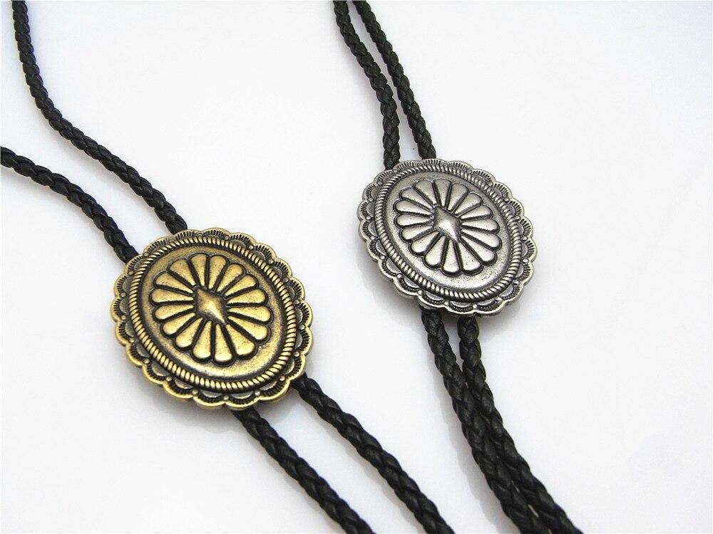 Bolo Tie New Retro Shirt Chain Oval Shield Poro Collar Leather Necklace Long Tie Pendant