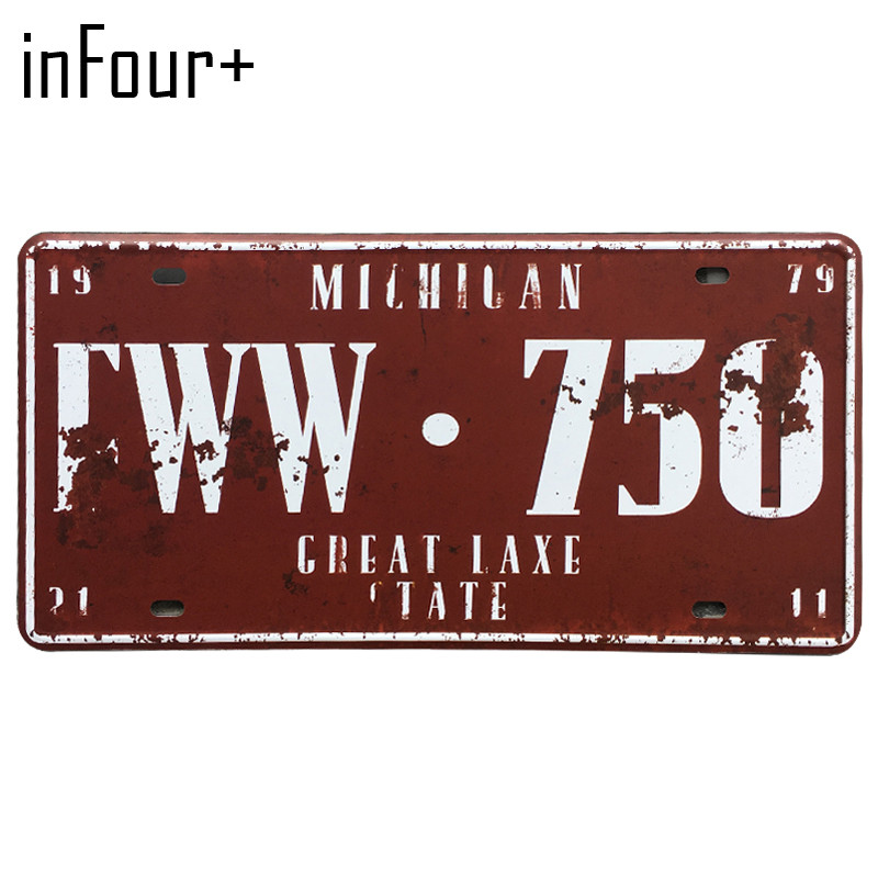 [inFour+] FWW.750 License Plate Metal Plate Car Number Tin Sign Bar Pub Cafe Home Decor Metal Sign Garage Painting Plaques Signs