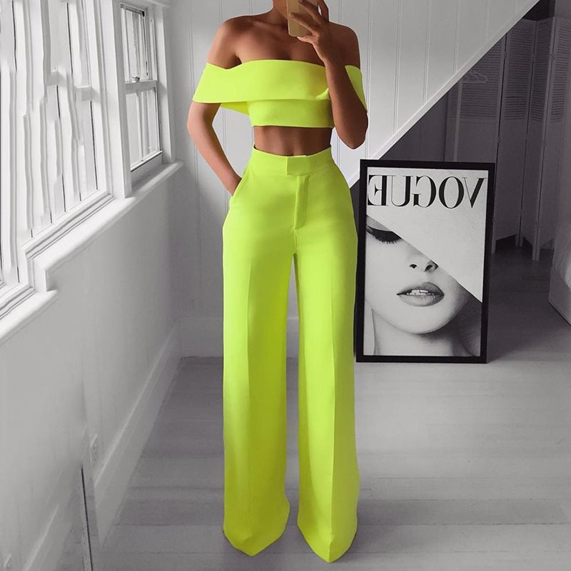 Summer Style 2PCS Off Shoulder Crop Top Straight Pants Set for Women <font><b>2019</b></font> <font><b>Sexy</b></font> <font><b>Outfit</b></font> Yellow White Pink Black Two Piece Set Suit image