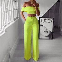 Summer Style 2PCS Off Shoulder Crop Top Straight Pants Set for Women 2019 Sexy Outfit Yellow White Pink Two Piece Set Suit