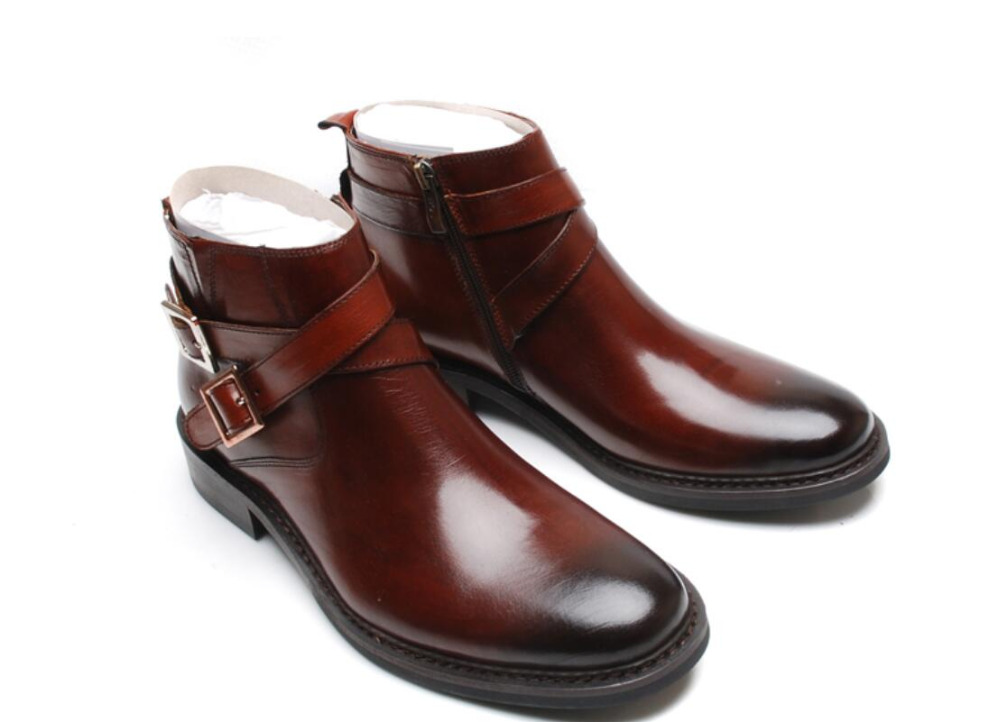 2018 Spring Genuine Leather Men Ankle Boots Pointed Toe Autumn Military Boots Wedding Shoes Cowboy Boots Work Booties цены онлайн