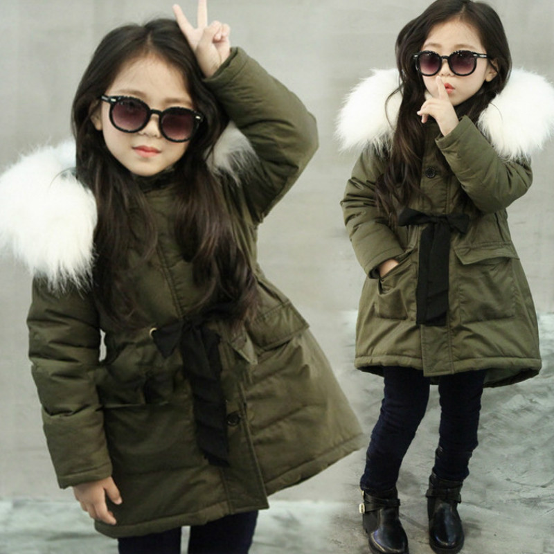 Girl Hooded Jacket Fur Collar Coat Autumn Winter Jacket Kid Drawstring Pocket Zipper Outwear Snow Outerwear Christmas New Year