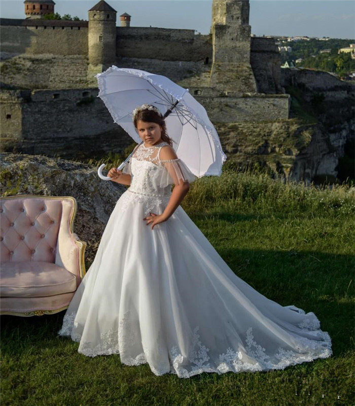 Fabulous   Flower     Girl     Dress   with Pearls Buttons Appliques Train Lace Top Custom Made For Birthday Party First Communion Gowns