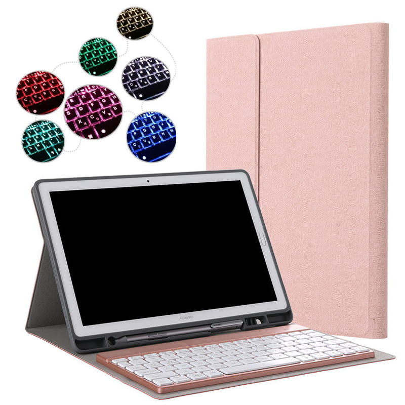 Detachable 7 Colors Backlit Light Wireless Bluetooth Keyboard Case Cover For Huawei MediaPad M5 10 8