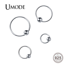 UMODE 2019 New Fashion 925 Silver Simple Geometric Hoop Earrings for Women with Ball White Gold Genuine Jewelry Gift ALE0495