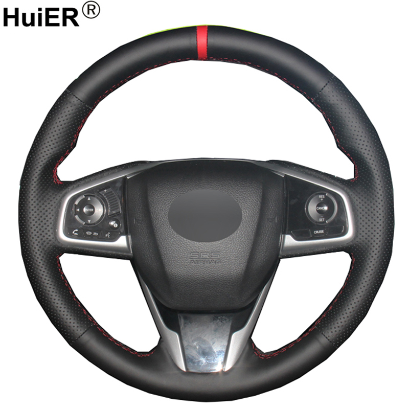 Hand Sewing Car Steering Wheel Cover For <font><b>Honda</b></font> Civic Civic 10 2016 2017 <font><b>2018</b></font> 2019 <font><b>CRV</b></font> CR-V 2017 <font><b>2018</b></font> 2019 Clarity 2016-<font><b>2018</b></font> image