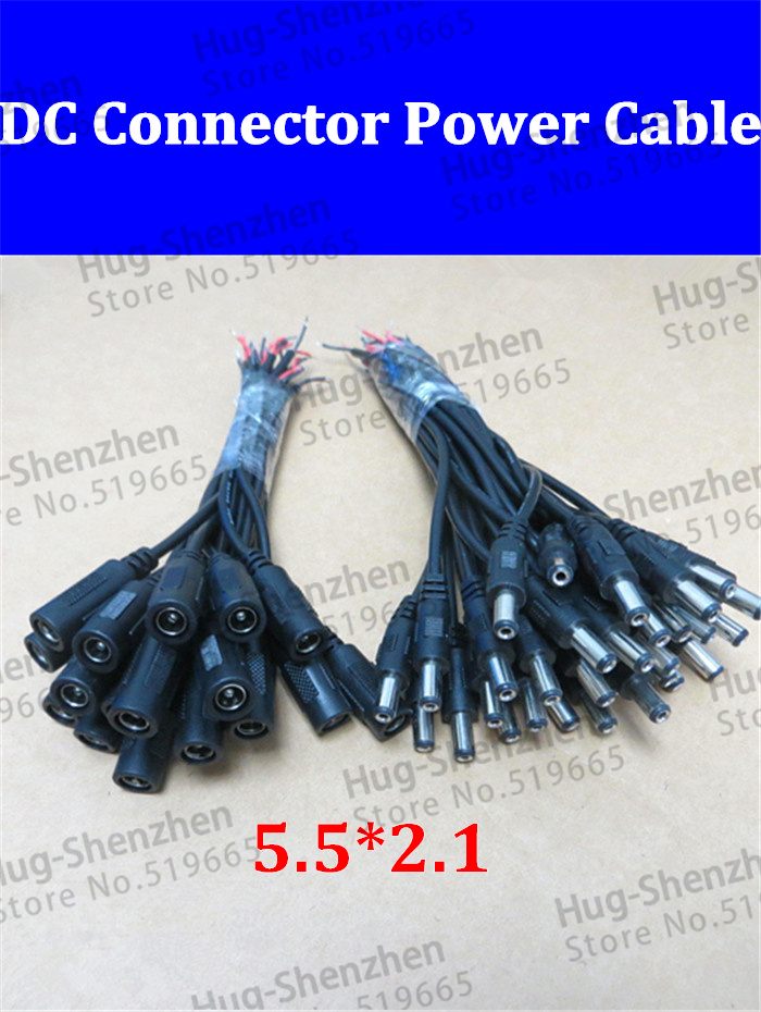 10pair Monitoring DC power male+female connector power cord / led controller DC line / size <font><b>5.5</b></font> * <font><b>2.1</b></font> Power Male Plug Connector image