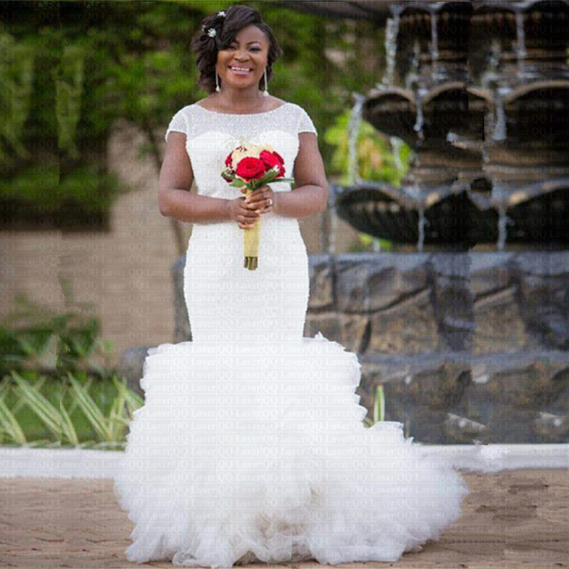 2019 New African Full Beading Mermaid Wedding Dress Stunning Ruffles Tiered Cap Sleeves Wedding Gowns