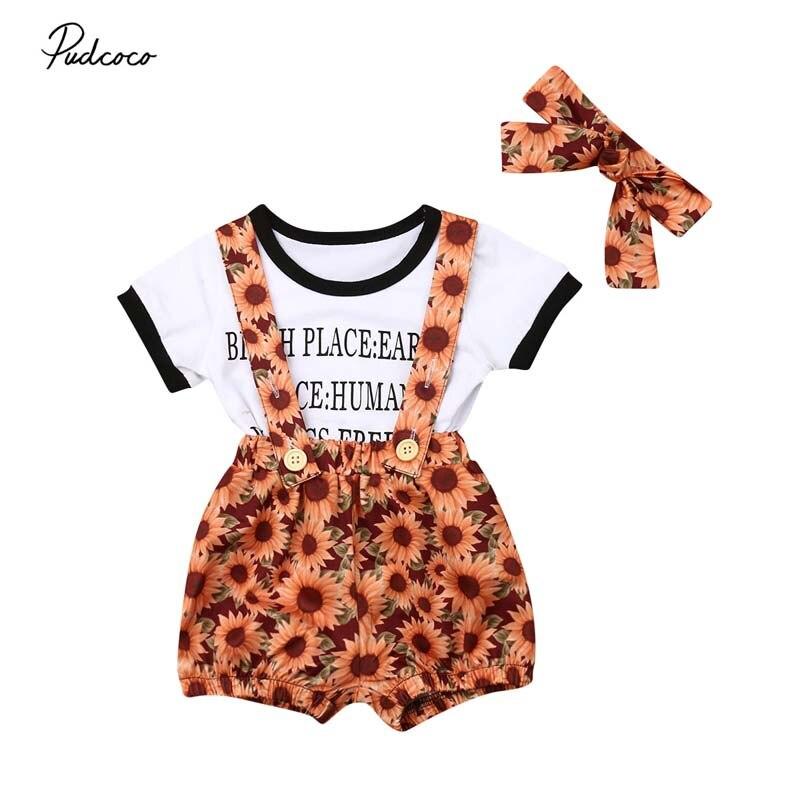 2e47f6284 2019 Brand Baby Girls Newborn Clothes Letter Tops T-shirt+Sunflower Shorts  Pants+Headband Outfit ...