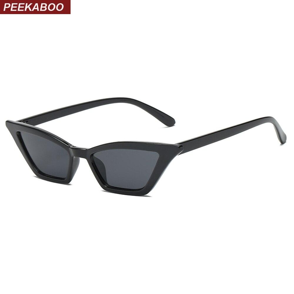 Peekaboo small cat eye sunglasses women vintage retro red pink black fashion sun glasses for women 2018 cheap uv400