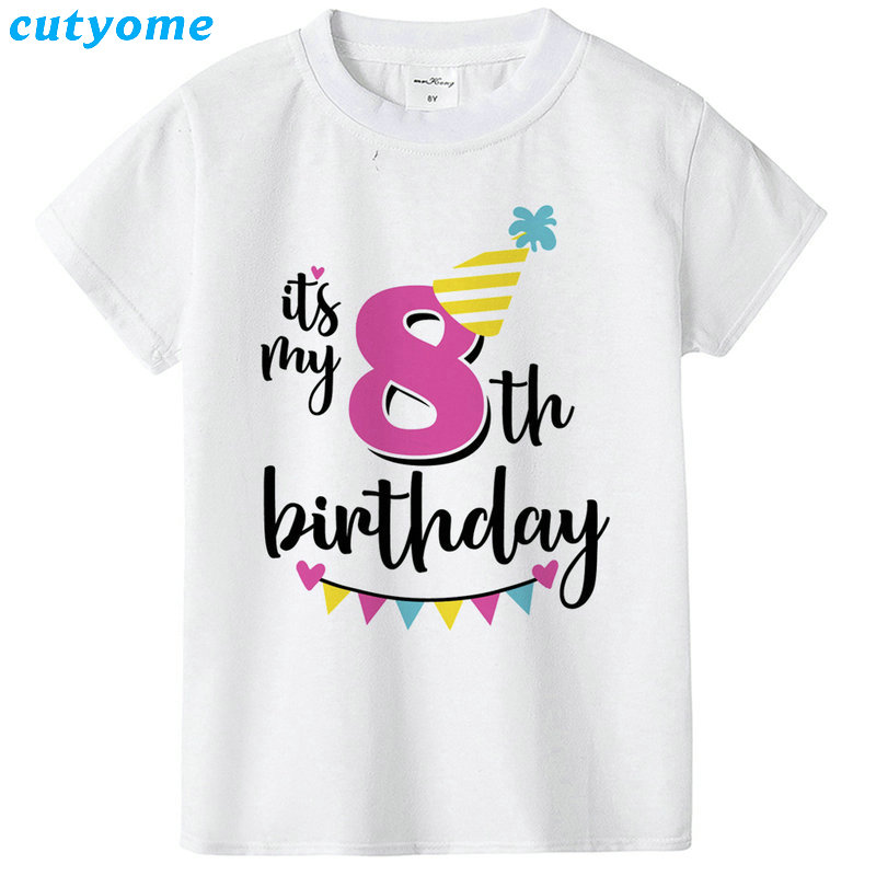 Summer Baby T Shirt Tops Children's Clothing Happy Birthday Girls Boys Short Sleeve Kids Clothes Tee Girls Boys' T-shirts Casual (40)