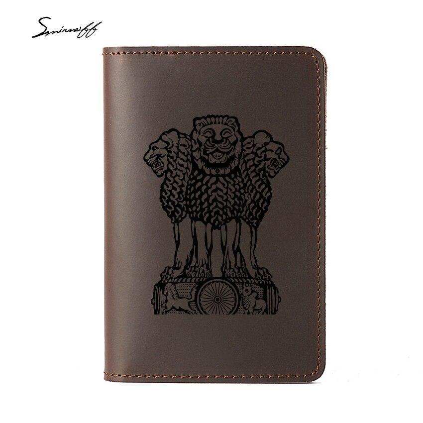 Герб Индии заграничного паспорта случае Пояса из натуральной кожи держатель для карт Туристические товары Индии лазерной гравировкой Прос...