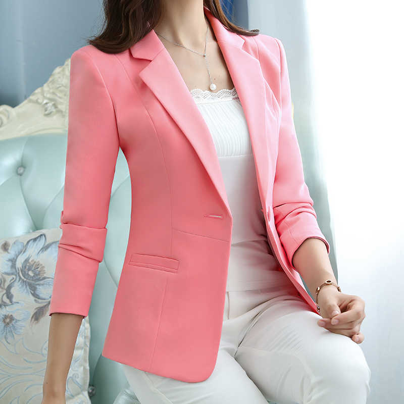 Plus Size 5XL Spring Jacket Female Coats Blazer Feminino Long Sleeve One Button Women Small Suit Jackets Office Blazers
