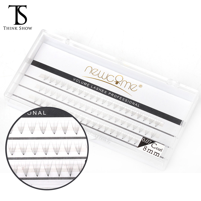 Thinkshow 2pcs/Lot 8-12mm 5D Volume 0.07 C Individual Eyelash Extension 60 Knots Natural Eyelash Extension Silk Individual Lash