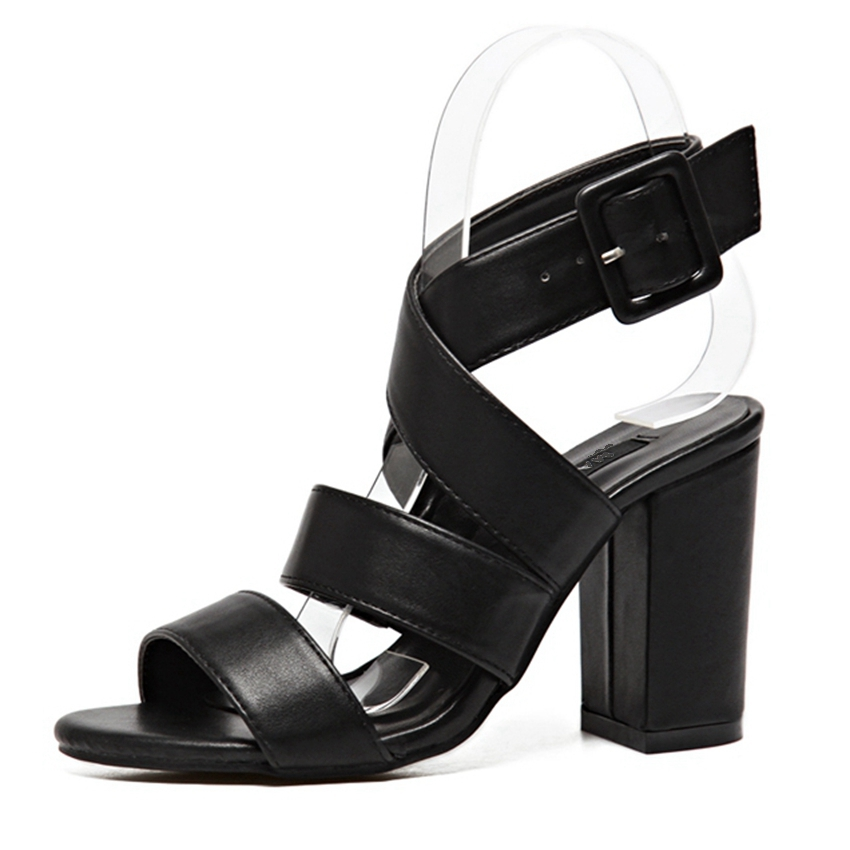ФОТО Women Fashion Ankle Strap Sandals Thick High Heels Summer Party Shoes Woman Pumps QQ305