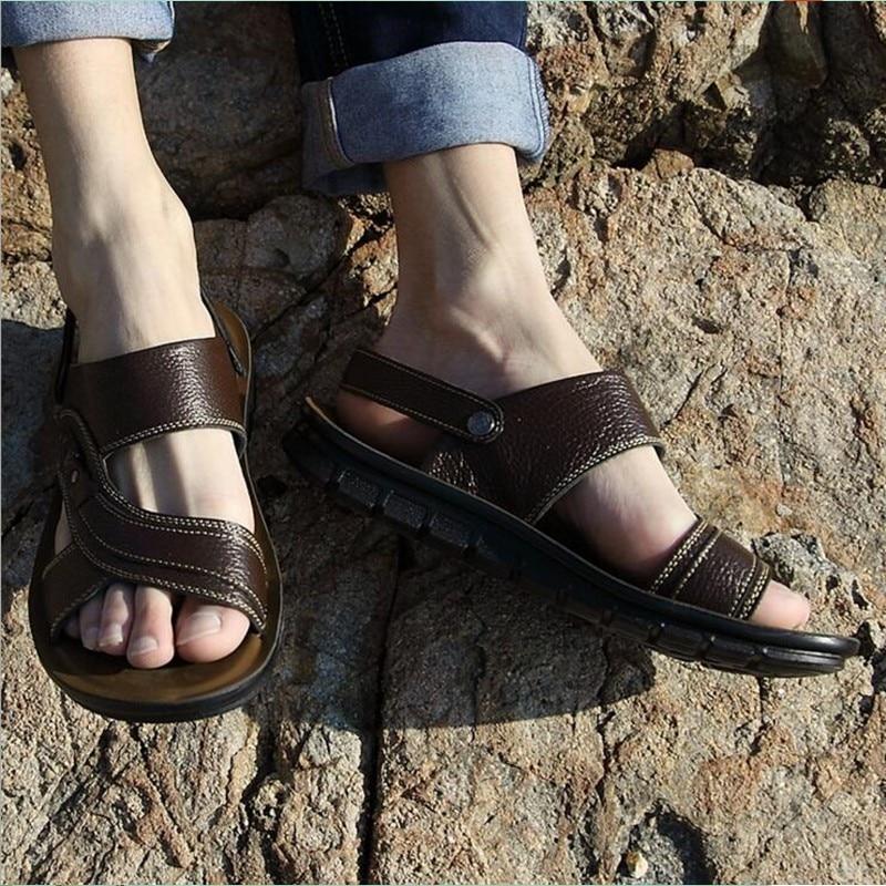 brown 000 De Genuíno Sapatos Muhuisen Casuais Couro 28 Sandálias Black 66 Verão Chinelos Homens Famosa Praia Nova Marca SRAnwgxT