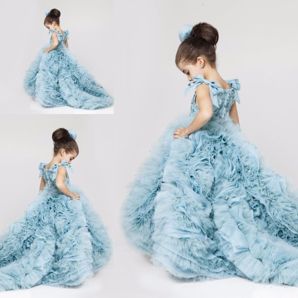 New Pretty   Flower     Girls     Dresses   Ruched Tiered Blue Puffy   Girl     Dresses   for Wedding Party Gowns Birthday Pageant   Dresses   Custom