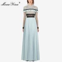 MoaaYina Fashion Designer Runway Dress Autumn Women Long sleeve Lace Hollow Out Ruffles Spliced Casual Party Elegant Slim Dress