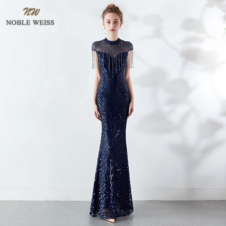 Longues robes de soirée manches longues paillettes sirène robes de soirée Sexy femmes perlées robes formelles