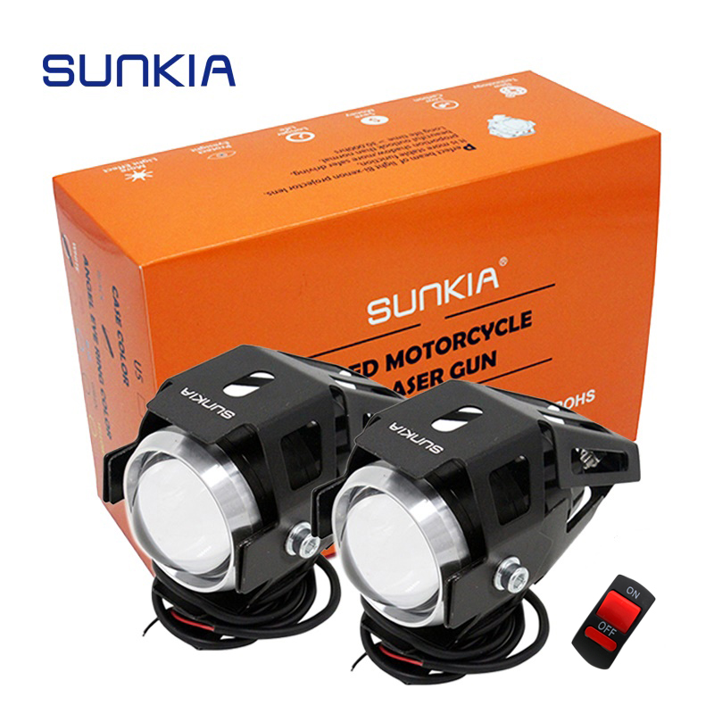 2Pcs Lot SUNKIA Motorcycle LED Headlight Waterproof 3000LM CREE Chip U5 Motorbike LED Fog Spot Head Light Lamp Free Shipping