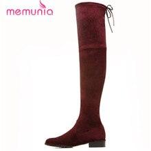 Neu kommen über das knie stiefel runde kappe frauen schuhe med ferse hohe qualität aus echtem leder stiefel winter schneeschuhe