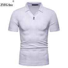 ZYFG free men Polo short-sleeved turn-down collar solid color polo shirt simple casual style fashion business male tops