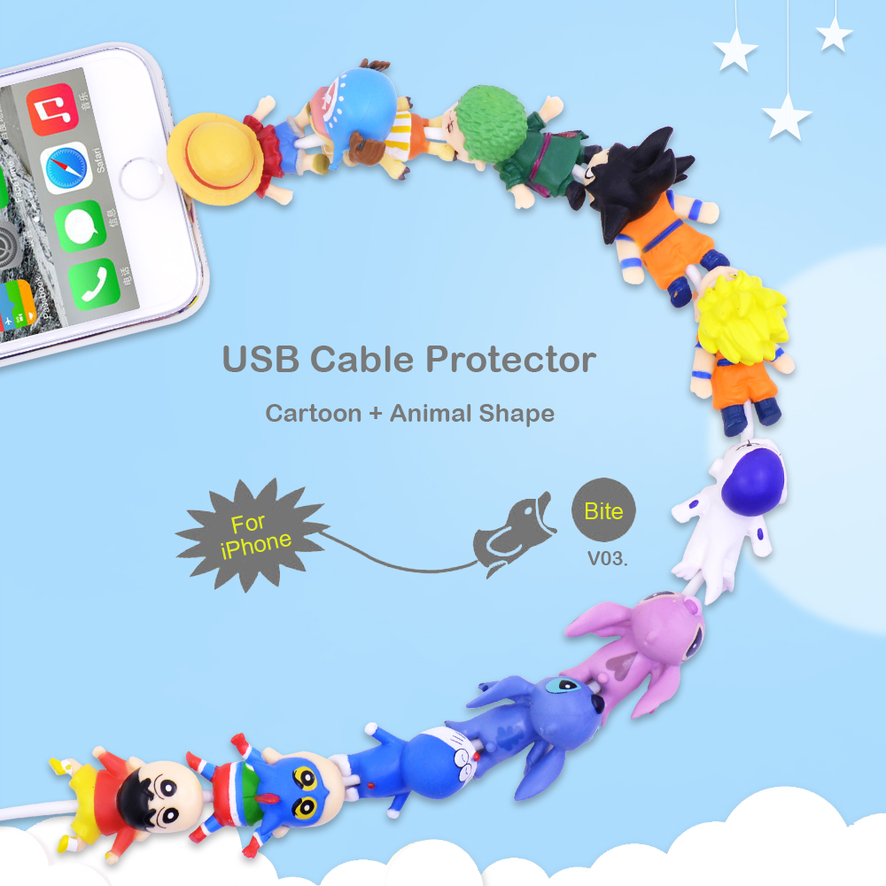 Image 5 - CHIPAL Cartoon Bite Animal Cable Protector for iPhone USB Charger Wire Winder Organizer Chompers Luffy Son Goku Stitch Holder-in Cable Winder from Consumer Electronics
