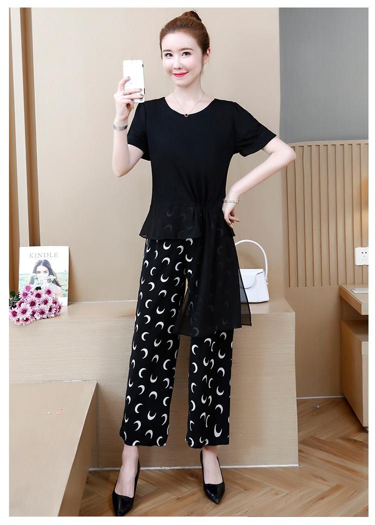 2019 Black Summer Two Piece Sets Outfits Women Plus Size Asymmetrical Tops And Printed Wide Leg Pants Korean Elegant Suits L-5xl 29
