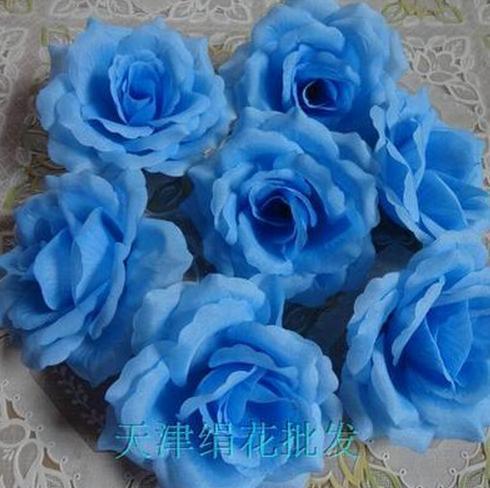 50 шт. искусственная Камелия Роза Пион Свадебные цветы декоративные искусственные цветы несколько цветов - Цвет: lighter blue