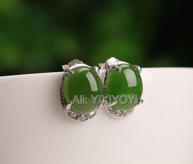 Belle 925 argent vert HeTian Jade perles incrusté charme élégant boucles d'oreilles femme porte-bonheur boucle d'oreille bijoux certificat