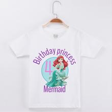 Mermaid Printed Clothes For Girls Birthday T Shirt For Kids Cartoon Painting 100 Cotton Children Boys Costumes Girl Tops Tees 3 14years teen boys clothes roblox t shirt cartoon running t shirt fashion hot game 100% cotton blue tops tees kids costumes