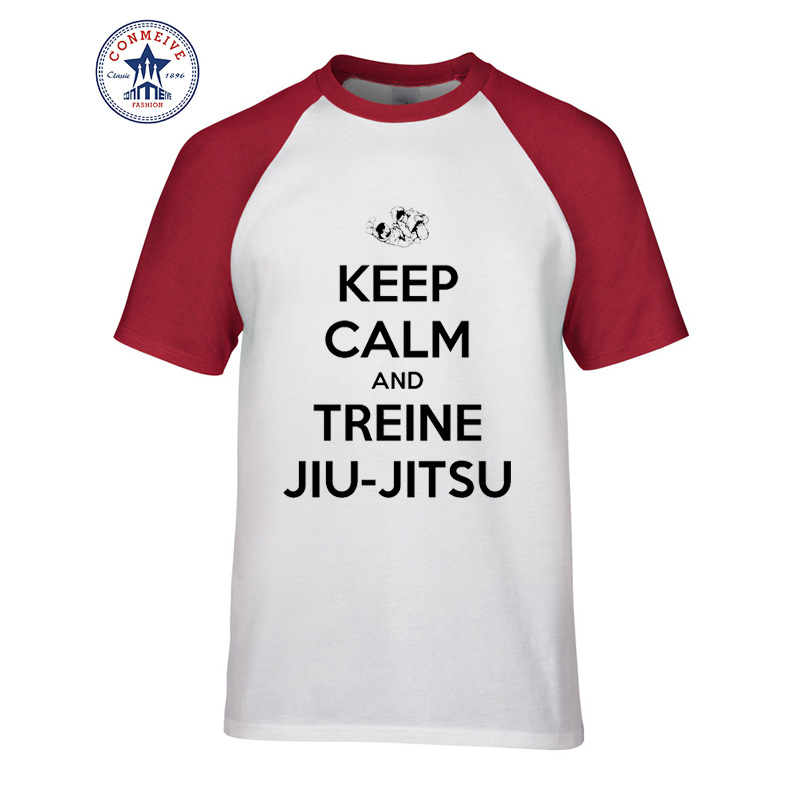 0c09f2cb0050 2017 Hot Selling Funny KEEP CALM AND TREINE JIU-JITSU Cotton T Shirt for  men - us209