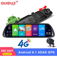 QUIDUX 10 4G ADAS Android 8.1 Car Rearview mirror DVR Camera GPS Navigation Full HD 1080P Dash cam Video Recorder WiFi monitor