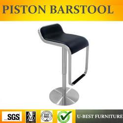 Бесплатная доставка U-лучший полностью черный couter барный стул нержавеющая сталь базы барные стулья, Реплика из нержавеющей стали Лем
