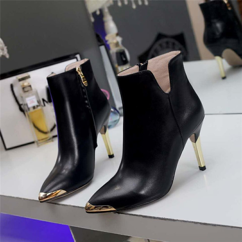 Basic black pointed toe high heel ankle boots for women Sexy red metal toe thin heel short boots for ladies Fashion boots classic red blue solid pointed toe high heel ankle boots for ladies fashion super high thin heel shoer boots women dress shoes