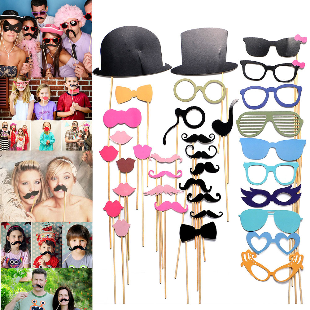 36PCS/LOT Photobooth Props Party Weeding Decoration DIY Face Masks Gatsby Cap Mustache On A Stick Birthday XMAS Favor Gift