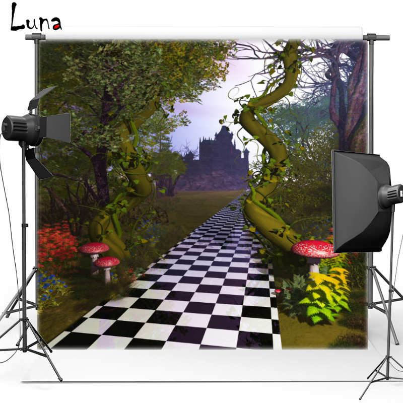 Vinyl Backdrop Alice in Wonderland Castle Mushroom Forest Oxford Photography Background Photo studio Props F1754 christmas background pictures vinyl tree wreath gift window child photocall fairy tale wonderland camera photo studio backdrop