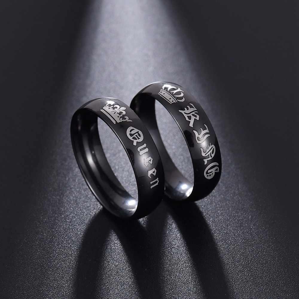 ELSEMODE 1 pieza de titanio Vintage King Queen DIY grabado pareja anillo de compromiso romántico anillos de boda para hombres mujeres joyería
