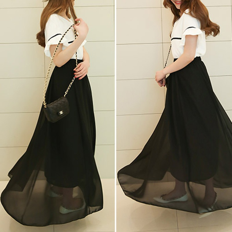 Womens Elegant High Waist Chiffon Skirt Elastic Waist Casual Long Maxi Skirts Saias Evening Party Beachwear Summer Bohemian