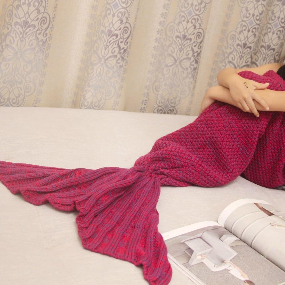 Handmade Knitted Mermaid Tail Blanket Keep Warm crochet mermaid blanket children throw bed Wrap sleeping bag 150x70cm CB32