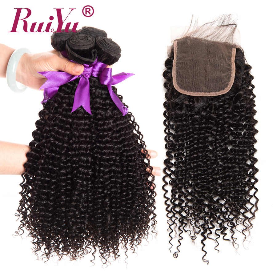 RUIYU Hair Kinky Curly Human Hair 3 Bundles With Lace Closure Malaysian Hair Weave Bundles Deals #1B Non Remy Hair Extensions