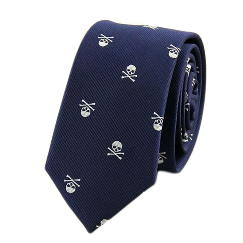 New 2017 Fashion Skull Neck Tie for Men Business Ties 6 Colors Party Wear Slim Ties 6cm S4