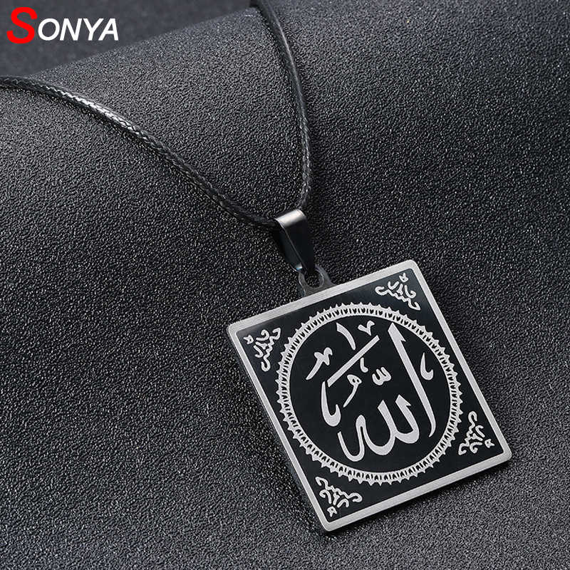 SONYA Fashion Cool Punk Black 316L Stainless Steel muslim Pendant & Necklaces Leather Chain Men Women Costume Jewelry