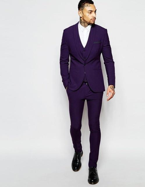 FOLOBE Custom Shawl Lapel Purple mens suits Wedding suits for Men Tuxedos One button Groomsmen suits(Jacket+Pants+vest)