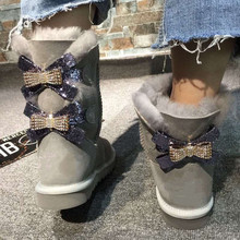 Women Shoes Snow-Boots Winter Fashion Genuine Mid-Calf Two-Bows Sheepskin