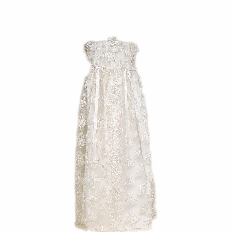 2016 3 pcs/set Tailored Baby Girls Sheer Elegance Christening Baptism Gowns & Lace Cape & Hat , White/Ivory Vestido 1321
