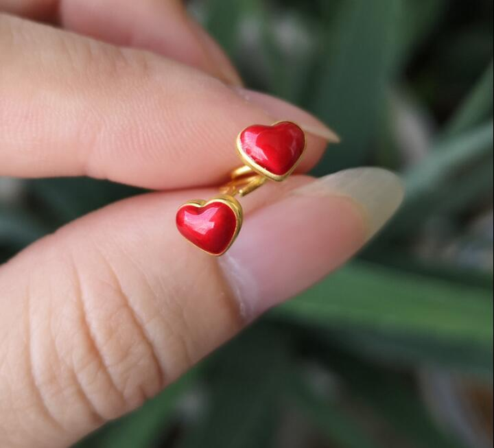 New Arrival Pure 24K Yellow Gold Earrings Red Heart Stud Earrings кпб od 26