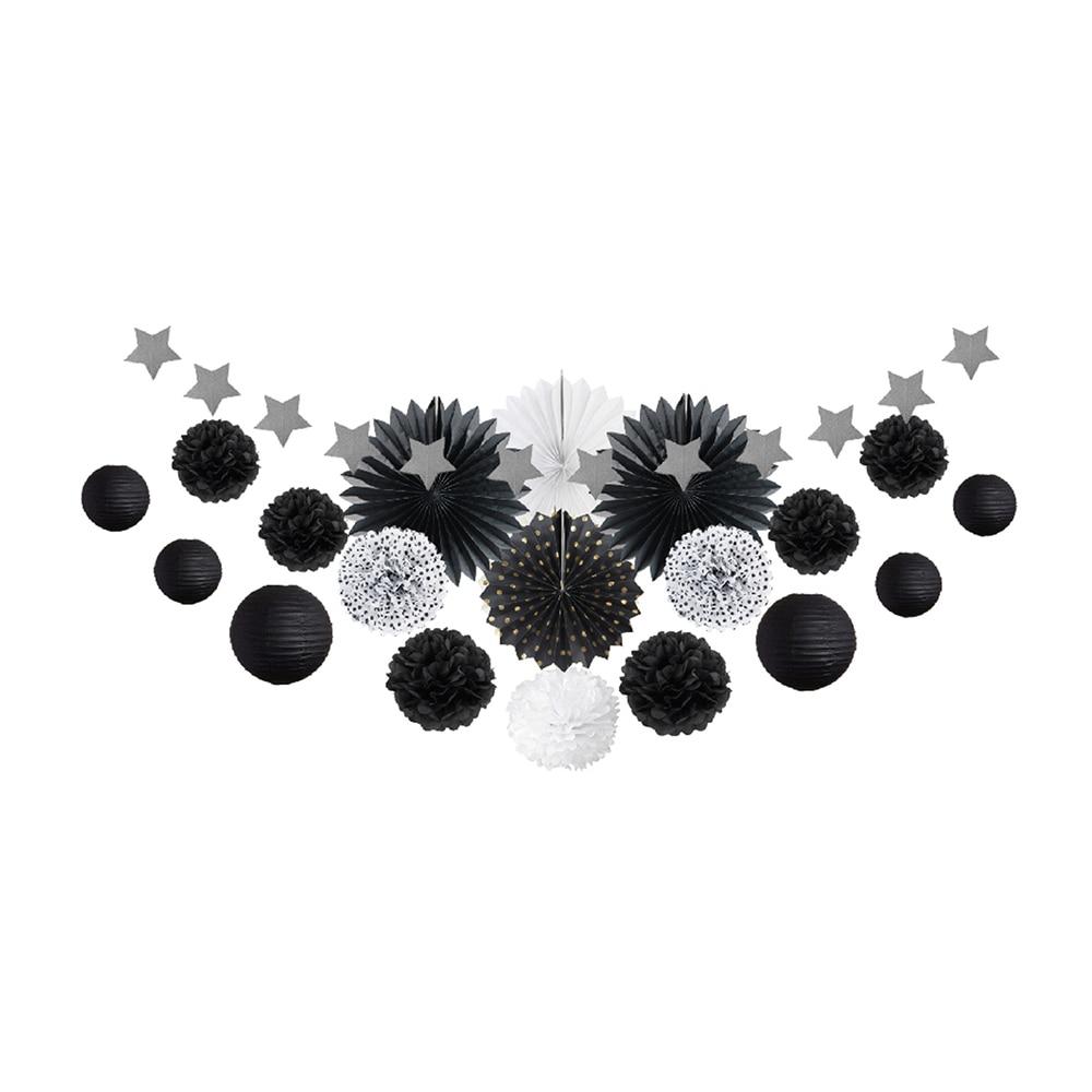 20pcs Black Party Decoration Kit Paper Fans Rosette