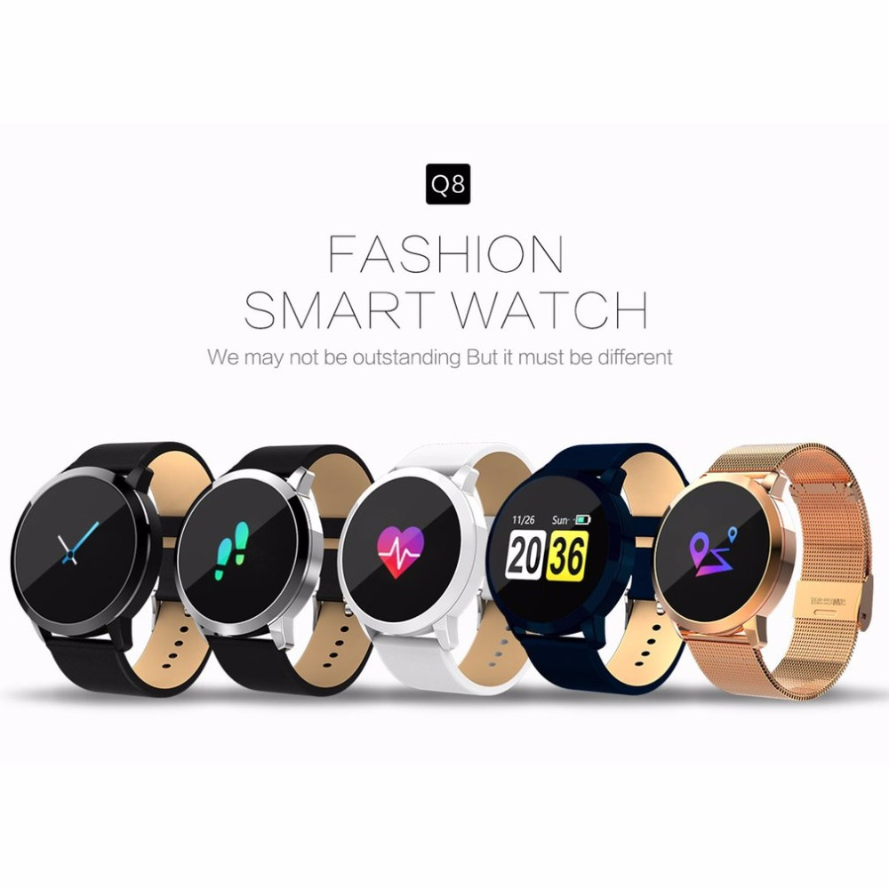 2018 Q8 Color Touch Screen Smartwatch Smart 1080P Watch Men Women IP67 Waterproof Sport Fitness Wearable Devices Electronics цены
