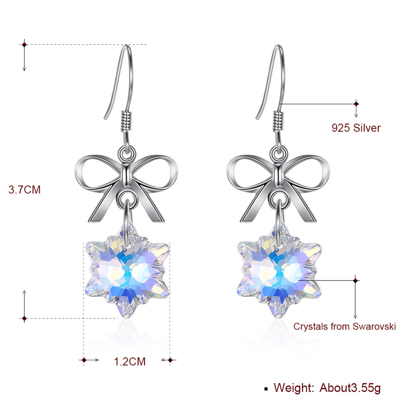 SHEON 925 Sterling Silver Trendy Snowflake Bowknot Crystal Drop Earrings For Women Fine Engagement Jewelry Christmas Gift in Drop Earrings from Jewelry Accessories